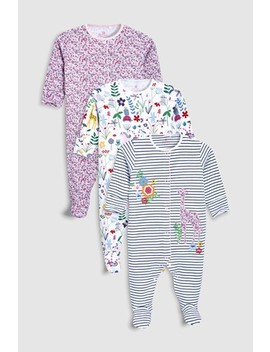 White/Pink Pretty Floral Sleepsuits Three Pack (0mths 2yrs) by Next