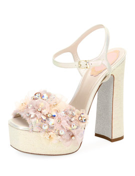 Embellished High Platform Sandals by Rene Caovilla