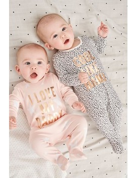 Monochrome/Pink Slogan Sleepsuits Two Pack (0mths 2yrs) by Next