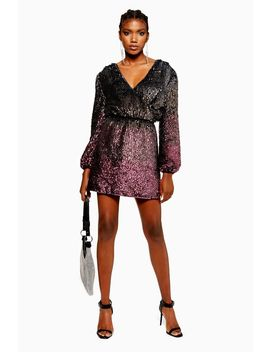 **Ombre Sequin Wrap Dress by Topshop
