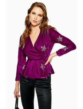 Petite Velvet Embellished Star Wrap Blouse by Topshop