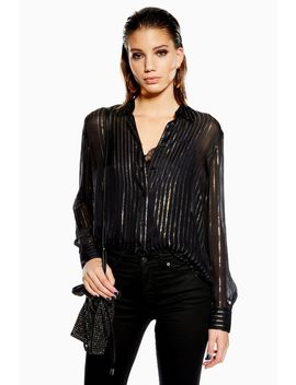 Metallic Thread Stripe Shirt by Topshop