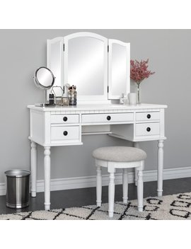 Best Choice Products Bedroom Makeup Cosmetic Beauty Vanity Hair Dressing Table Set W/ Tri Folding Mirror, Upholstered Stool Seat, 5 Drawer Storage Organizers   White by Best Choice Products