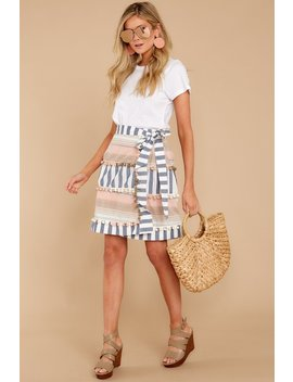 No One Like Me Blue Stripe Pom Skirt by America & Beyond