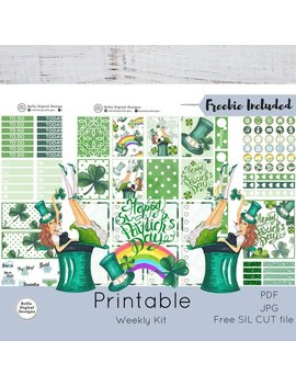 St. Patrick Printable Planner Stickers. Erin Condren And Happy Planner Weekly Kit. Girls Glam St. Patrick's Day Rainbow Luck Shamrock by Etsy