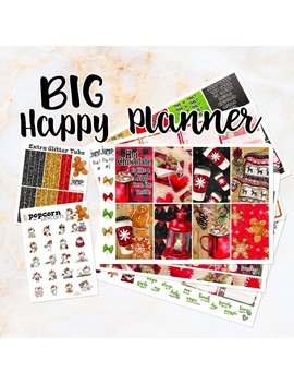 Christmas Plaid Weekly Kit   For Big Happy Planner   Stickers Winter Christmas Snow Sweater Gingerbread Hot Chocolate by Etsy