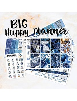 Blue Rose Set Kit Weekly Stickers   For Big Happy Planner   Floral Flowers Girls Fashion Summer by Etsy