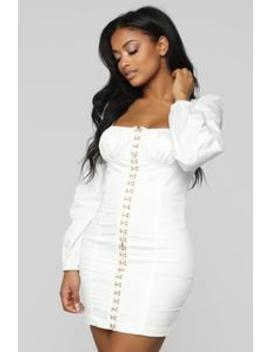 Abegail Mini Dress   White by Fashion Nova