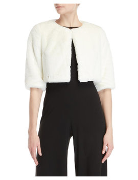 Ivory Faux Fur Shrug by Betsey Johnson