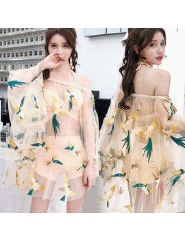 Jumei   Set: Plain Bikini + Bird Embroidered Cover Up by Jumei