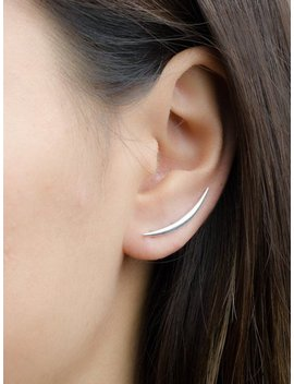 Crescent Moon Ear Climbers, Sterling Silver,Ear Cuff, Ecf019 by Etsy