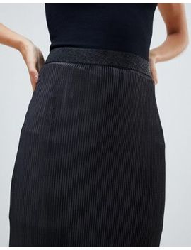 River Island Plisse Midi Skirt In Black by River Island