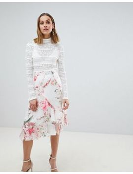 River Island Floral Frill Split Front Midi Skirt by River Island
