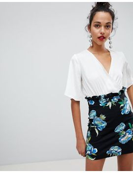 River Island A Line Mini Skirt With Ruched Waist In Floral Print by River Island