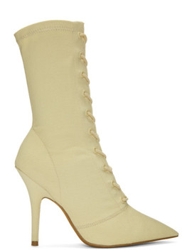 Off White Lace Up Ankle Boots by Yeezy