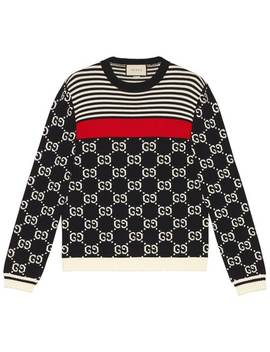 Gg And Stripes Knit Sweater by Gucci