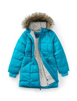 School Uniform Little Girls Winter Fleece Lined Down Alternative Thermo Plume Coat by Lands' End