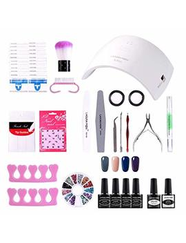 Lagunamoon Gel Nail Polish Start Kit With 24 W Nail Lamp Gel Base And Top Coat Gel Polish Soak Off Uv Led 4pcs Elegent Gel Nail Colors Manicure Varnish Set by Lagunamoon