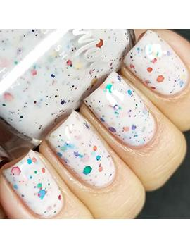 Oh Splat White Glitter Nail Polish With Rainbow Glitters  0.5 Oz Full Sized Bottle by Kb Shimmer