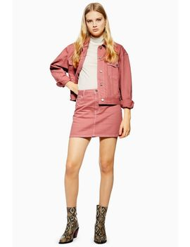 Pink Denim Skirt by Topshop