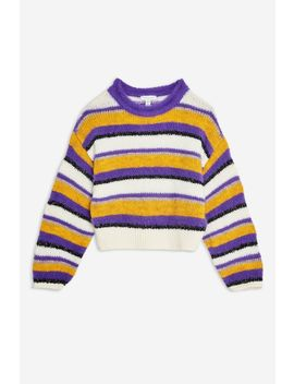 Multi Stripe Fluffy Jumper by Topshop