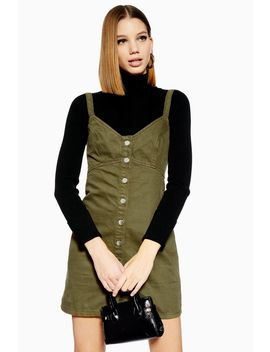 Khaki Denim Button Up Dress by Topshop