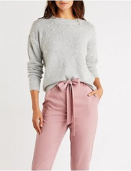 Pearl Accent Pullover Sweater by Charlotte Russe