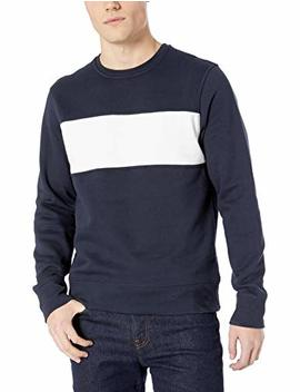Amazon Essentials Men's Crewneck Fleece Chest Stripe Sweatshirt by Amazon+Essentials
