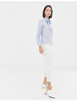 Esprit Tie Neck Chambray Blouse In Blue by Esprit