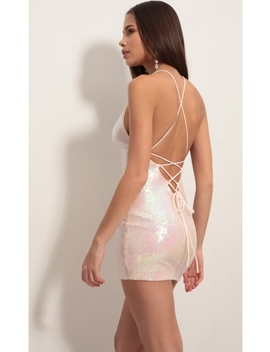 Sequin Lace Back Bodycon Dress In Pink Iridescence by Lucy In The Sky