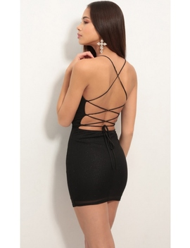 Lace Back Bodycon Dress In Sparkling Black by Lucy In The Sky