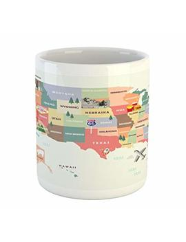 Lunarable Route 66 Mug, Map Of The United States Of America With Famous Attractions Of The Country Print, Printed Ceramic Coffee Mug Water Tea Drinks Cup, Multicolor by Lunarable