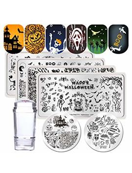 Born Pretty Nail Art Stamping Templates Halloween Pumpkin Fairy Skull Ghost 6 Pcs Stamp Plates With Stamper Kit by Born Pretty
