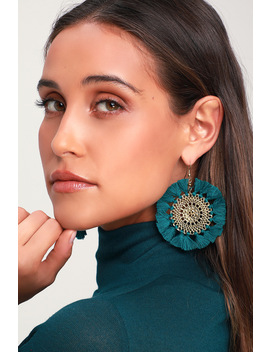 Salina Teal Green Circle Tassel Earrings by Lulus