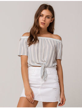 Ivy & Main Stripe Tie Front Womens Off The Shoulder Top by Ivy & Main