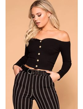 Manda Black Button Off The Shoulder Crop Top by Priceless