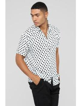 Polka Dot Short Sleeve Woven Top   White/Black by Fashion Nova