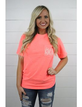 Short Sleeve Comfort Colors Monogram Pocket Tee, Short Sleeve T Shirt, Comfort Colors, Monogram Pocket Tshirt, Monogram Pocket Tee For Women by Etsy