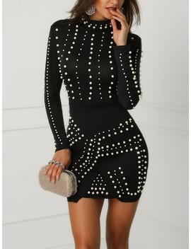Black Studded Long Sleeve Dress by Ivrose