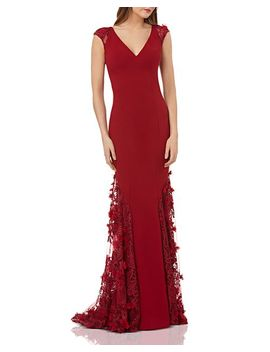 Embellished Crepe Gown by Carmen Marc Valvo Infusion