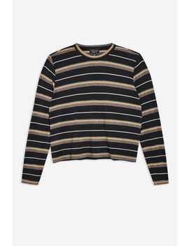 Petite Glitter Stripe Long Sleeve T Shirt by Topshop