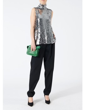 Sequin Shell Turtleneck Top by Tibi