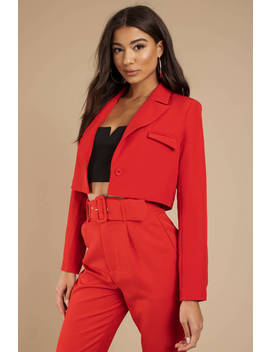 Beatrix Boxy Cropped Red Blazer by Tobi