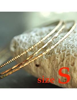 14k Gold Filled Hammered Skinny Stacking Bangles Set Of 3   Size Small by Amazon