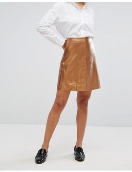 Vila Faux Leather Metallic Mini Skirt by Vila