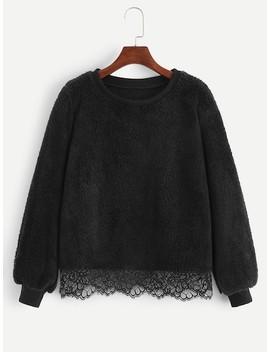 Contrast Lace Solid Teddy Sweatshirt by Sheinside