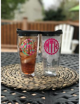 Monogram Acrylic Tumbler 24oz Free Shipping Wedding Party Cups   Bridesmaid Cups   Birthday Cup Bride by Etsy