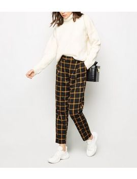 Black Grid Check Trousers by New Look