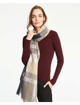 Shimmer Plaid Scarf by Ann Taylor
