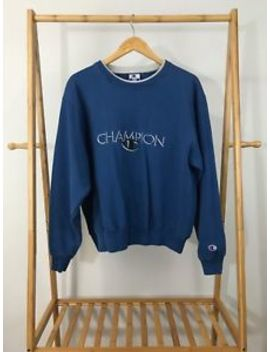 Vtg Champion Men's Spellout Logo Crewneck Sweatshirt Size L by Champion